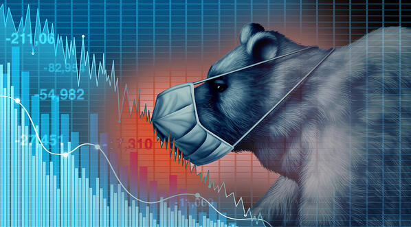 Stock Market chart with Bear in mask